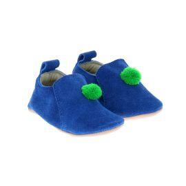 Chaussons nubuck bleu avec pompon vert 12-18 mois