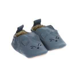 Chaussons en cuir bleu gris renard argenté