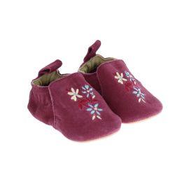 chaussons bébé nubuck bordeaux à fleurs