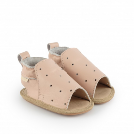 Chaussons rose cuir 6-12M