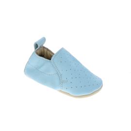 Chaussons cuir bleu pastel 0-6 mois