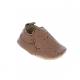 Chaussons cuir camel 0-6 mois