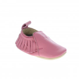 Chaussons cuir frange rose 0-6 mois