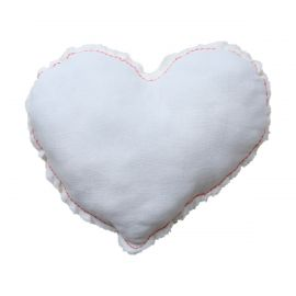 Coussin blanc couture rose