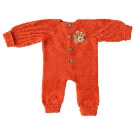 Combinaison orange brodée 6 mois