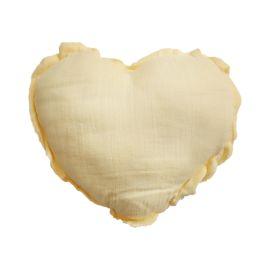 Petit coussin coeur jaune