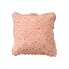 Coussin pointelle rose 30x30