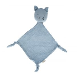 Doudou chat bleu gris perle