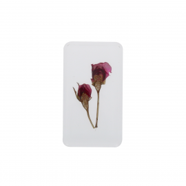 Duo de fleurs roses sous resine