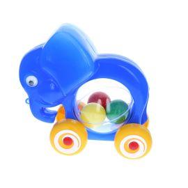 Elephant bleu à roulettes