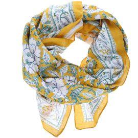 Foulard block-print jaune