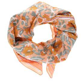 Foulard orange block-print
