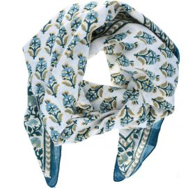 Foulard bleu émeraude block-print