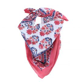 foulard-feuilles-roses