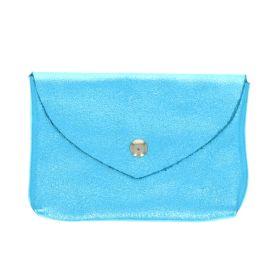 Grand porte monnaie enveloppe bleu ciel pailleté