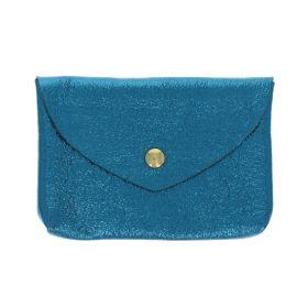 Grand porte monnaie enveloppe bleu émeraude