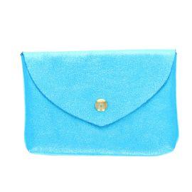 Grand porte monnaie enveloppe bleu turquoise