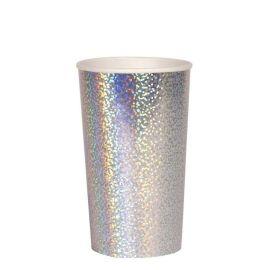 Grand gobelets paillettes holographiques argentees