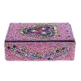 Grande boîte indienne rectangulaire rose