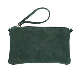 Grande pochette cuir vert pailleté