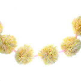 Guirlande pompons jaune et rose