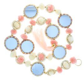 Guirlande pompons et miroirs rose