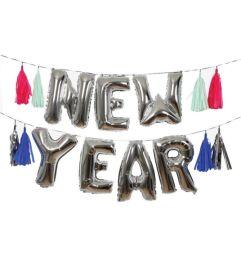Kit ballons de Nouvel An argentes