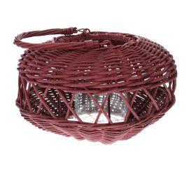 Lanterne ronde rotin terracotta