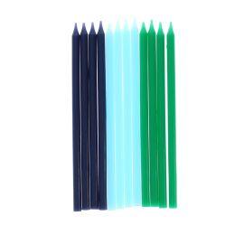 Lot de 12 bougies bleues et vertes