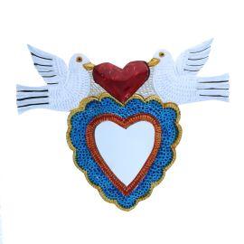 Miroir coeur sacré colombes