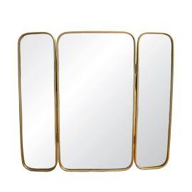 Miroir triptyque rectangulaire doré