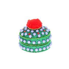 Petite boîte indienne ronde verte
