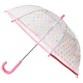 Parapluie transparent coeurs multicolores