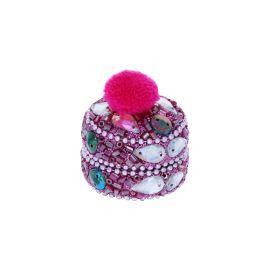 Petite boîte indienne ronde rose à pompon