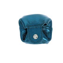 Bourse pailletée en cuir bleu