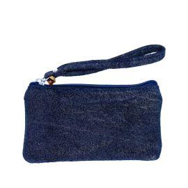 Petite pochette pailletée bleu marine