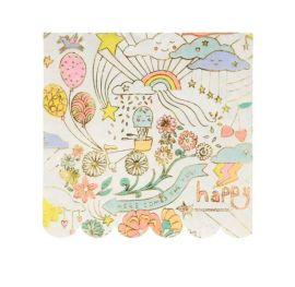 Petite serviettes en papier motif dessins colorés