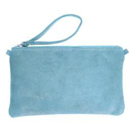 Pochette pailleté cuir bleu gris