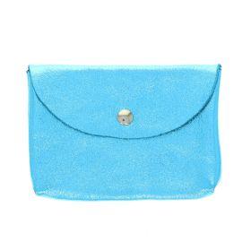 Porte carte en cuir bleu ciel pailleté