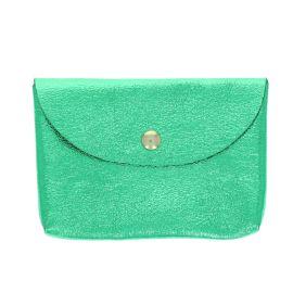 Porte carte en cuir vert brillant