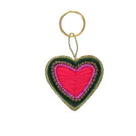 Porte clés coeur rose