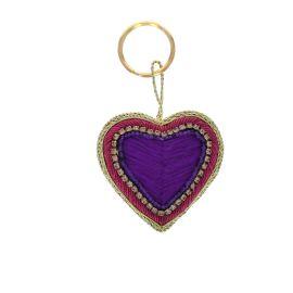 Porte clé coeur violet