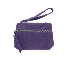 Porte monnaie double zip violet