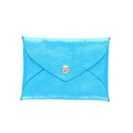 Porte monnaie enveloppe bleu turquoise