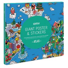 OMY - Poster géant Atlas et stickers à colorier