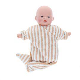 Petite poupée pyjama rayé camel