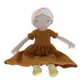 poupée en tissu robe en gaze moutarde
