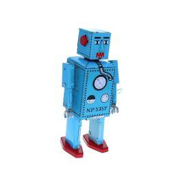 Robot vintage en métal bleu
