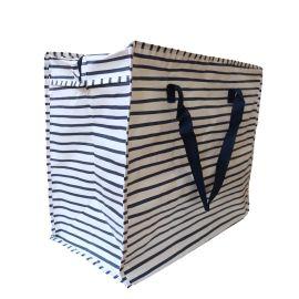 sac de rangement plastique rayures bleues marine