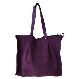 Sac tote cuir violet